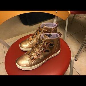 Skechers NWOT Metallic Gold High Tops Size 5